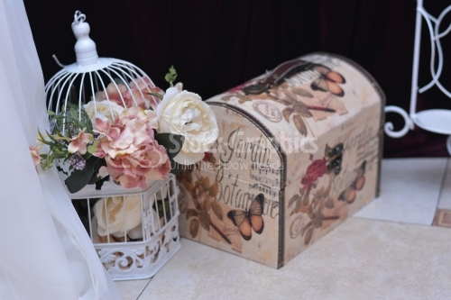 Cage and a money box for wedding day