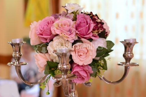 Flower bouquet with big pink flowers