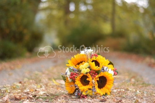 Sunflower bouquet on a autumn day
