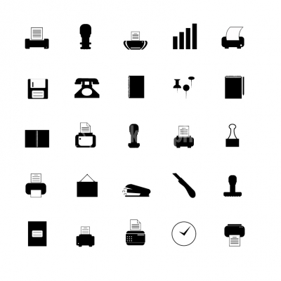 Black Office Icons - Illustration
