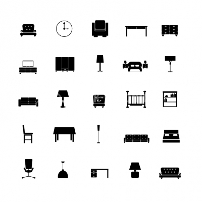 Furniture black & white icon set - Illustration