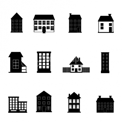 House and Apartment Building black & white icon set - Illustrati