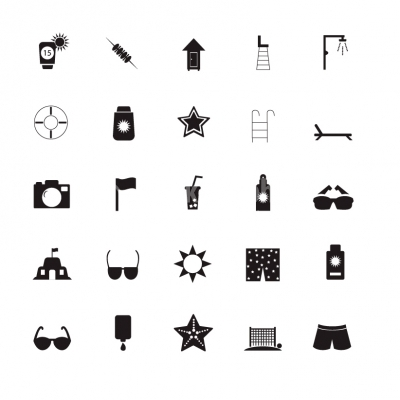 summer by the beach black and white icon set illustration icons stock graphics white icon set illustration icons