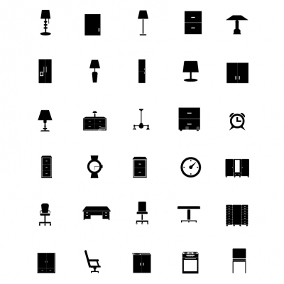 Vector home furniture icons set  Illustration